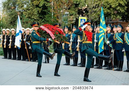MOSCOW RUSSIA - SEPTEMBER 02 2017: Day of the Russian Guard. The Honor Guard of the 154 Preobrazhensky Regiment.Solemn wreath laying ceremony. Preobrazhenskaya Square Moscow.