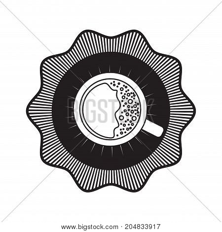logo badge decorative of top view cup of coffee with handle black silhouette vector illustration