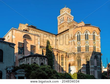 The Basilica di Santa Maria Gloriosa dei Frari in Venice, Italy. This old famous church was built in the 14th century.