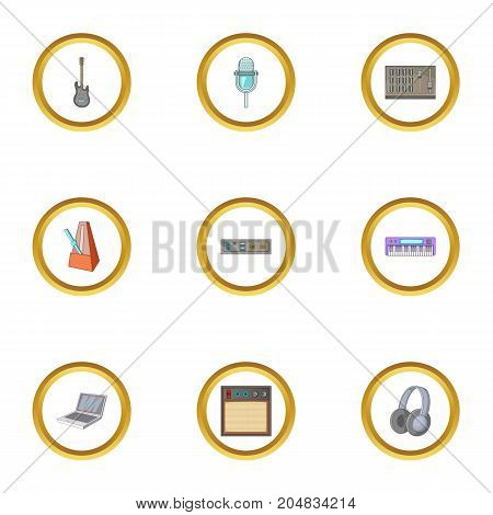 Music equipment icons set. Cartoon style set of 9 music equipment vector icons for web design