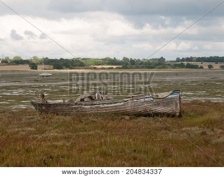 Old Wooden Boat Ruins Decaying Abandoned Estuary Scene