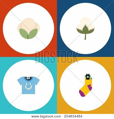 Flat Icon Fiber Set Of Blouse, Cotton, Fiber And Other Vector Objects
