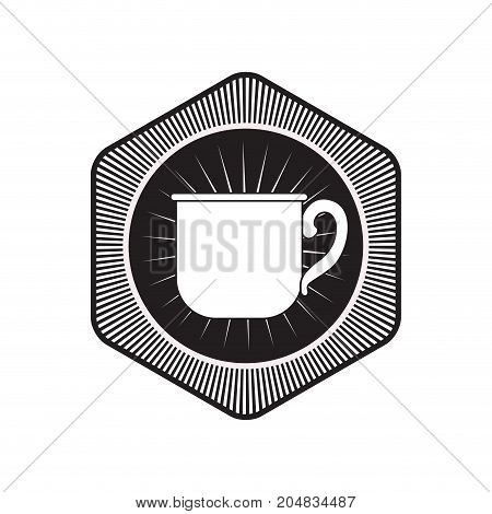 logo badge decorative of mug of coffee with handle black silhouette vector illustration