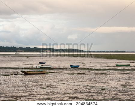Close Up Of Estuary Scene In Manningtree With Moored Boats