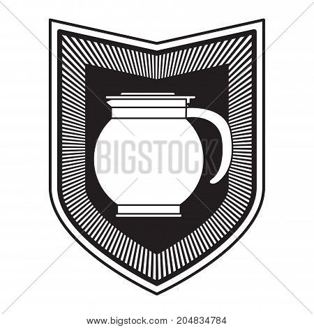 logo shield decorative of rounded glass jar recipient of coffee with handle black silhouette vector illustration