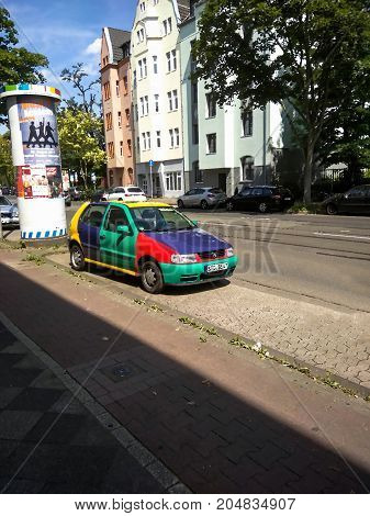 DUSSELDORF GERMANY - AUGUST 7 2017: A motley painted car in Derendorf northern district of D
