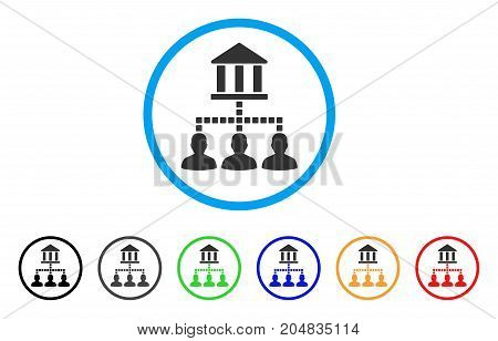Bank Clients rounded icon. Style is a flat bank clients grey symbol inside light blue circle with black, gray, green, blue, red, orange color versions. Vector designed for web and software interfaces.
