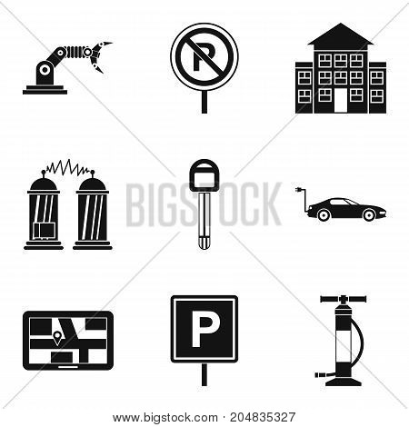 Lack of parking icons set. Simple set of 9 lack of parking vector icons for web isolated on white background