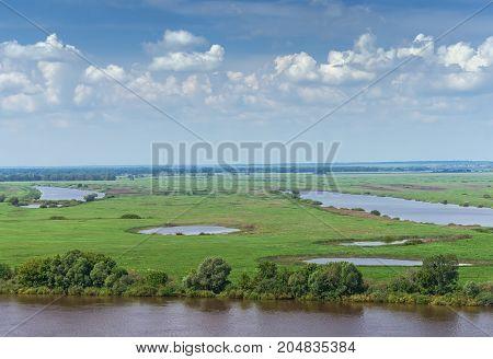Meadows along the Oka River ( Volga tributary ). Ryazan region Central Russia