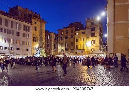 Tourists Walking In Piazza Della Rotonda (pantheon) In Rome