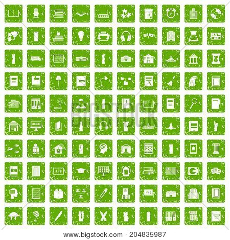 100 library icons set in grunge style green color isolated on white background vector illustration