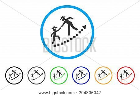 Gentlemen Education Growth rounded icon. Style is a flat gentlemen education growth gray symbol inside light blue circle with black, gray, green, blue, red, orange versions.