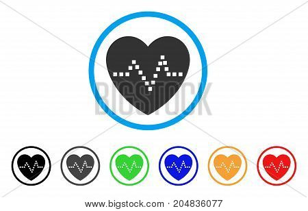 Heart Pulse rounded icon. Style is a flat heart pulse gray symbol inside light blue circle with black, gray, green, blue, red, orange versions. Vector designed for web and software interfaces.