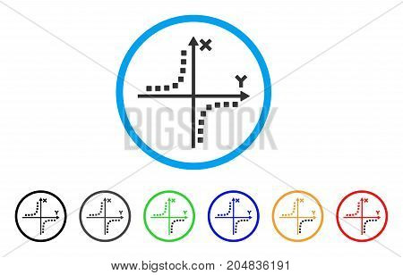 Hyperbola Plot rounded icon. Style is a flat hyperbola plot gray symbol inside light blue circle with black, gray, green, blue, red, orange versions. Vector designed for web and software interfaces.