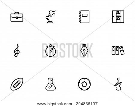Set Of 12 Editable Education Outline Icons. Includes Symbols Such As Ball, Treble Clef, Classbook And More