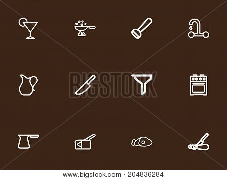Set Of 12 Editable Cook Outline Icons. Includes Symbols Such As Rooty, Beef, Plate And More