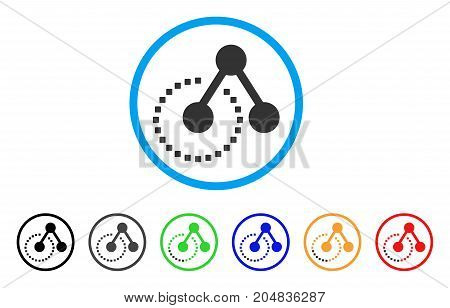 Molecule Structure rounded icon. Style is a flat molecule structure gray symbol inside light blue circle with black, gray, green, blue, red, orange variants.