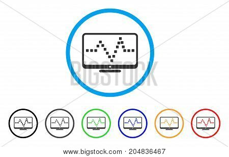 Pulse Monitoring rounded icon. Style is a flat pulse monitoring gray symbol inside light blue circle with black, gray, green, blue, red, orange color versions.