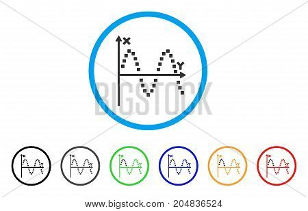 Sine Plot rounded icon. Style is a flat sine plot gray symbol inside light blue circle with black, gray, green, blue, red, orange variants. Vector designed for web and software interfaces.