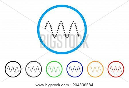 Sinusoid Waves rounded icon. Style is a flat sinusoid waves gray symbol inside light blue circle with black, gray, green, blue, red, orange variants. Vector designed for web and software interfaces.