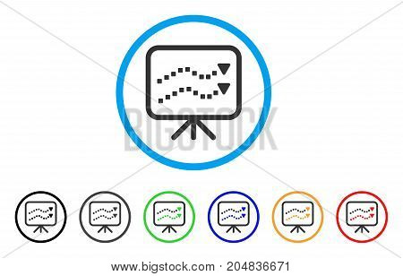 Trends Presentation rounded icon. Style is a flat trends presentation grey symbol inside light blue circle with black, gray, green, blue, red, orange variants.