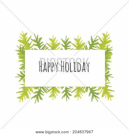 Card made of hand-drawn watercolor minimalist fir trees. For design, invitations and more