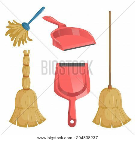Cartoon trendy cleaning service icons set. Natural broom and different dustpans feather duster.