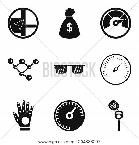 High speed icons set. Simple set of 9 high speed vector icons for web isolated on white background
