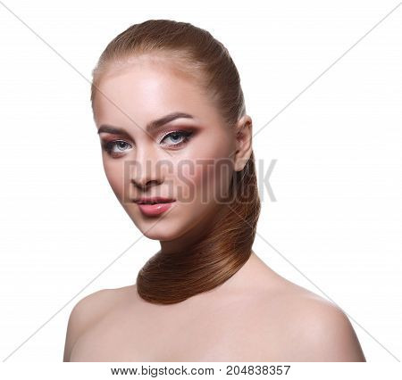 Beauty model isolated on white background, fashion shooting. Woman with makeup, perfect skin and hair posing to camera at studio