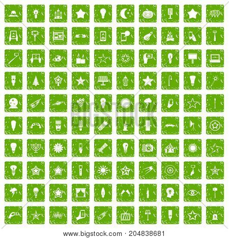 100 light icons set in grunge style green color isolated on white background vector illustration