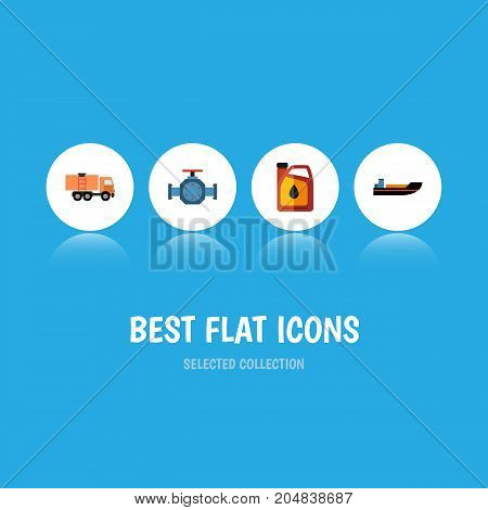 Flat Icon Petrol Set Of Jerrycan, Boat, Flange And Other Vector Objects
