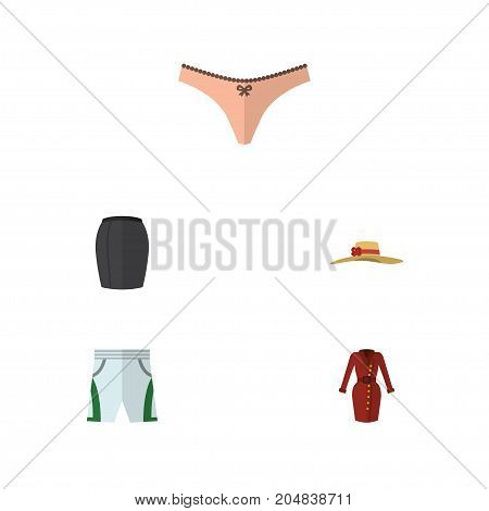 Flat Icon Garment Set Of Elegant Headgear, Clothes, Stylish Apparel And Other Vector Objects