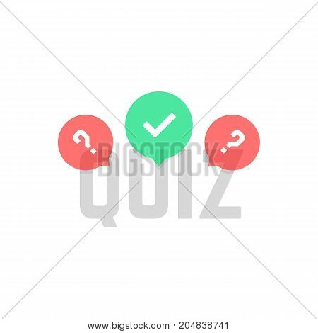 simple quiz logo with transparent bubbles. concept of creative tv show, quizz template, competition, matters, issue. flat style trend modern logotype design vector illustration on white background