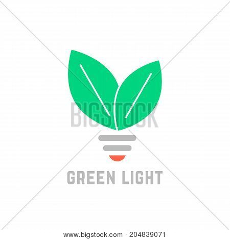 green light with leafs and bulb. concept of bio growth, safe power source, ecofriendly, farm, innovate, ecologic. flat style trend modern brand graphic design vector illustration on white background