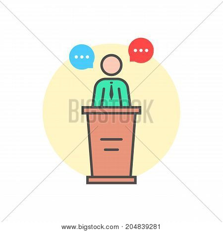 linear spokesman behind stand. concept of master class, vote, meeting, instructor, pedestal, narrator, mentor, announcement, quiz. flat style trend logo design vector illustration on white background