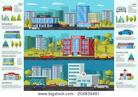 Colorful cityscape brochure with modern municipal buildings green trees and cars vector illustration