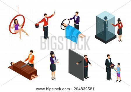 Isometric magic performance elements set with magicians showing different popular tricks and illusions isolated vector illustration