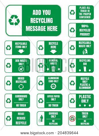 recycle stickers and labels for recycling containers