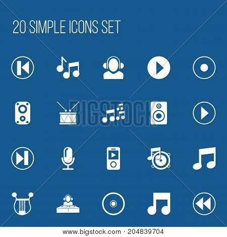 Set Of 20 Editable Song Icons. Includes Symbols Such As Tone, Musical Symbol, Rec And More