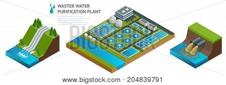 Vector isometric storage tanks in sewage water treatment plant. Dirty waste water. Discharge of liquid chemical waste. The danger for the environment