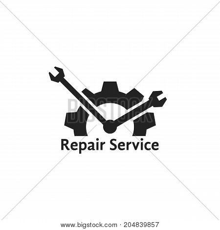 simple repair service logo like clock. concept of visual identity, engineering, garage spare, automobile motor. flat style trend modern brand graphic design vector illustration on white background
