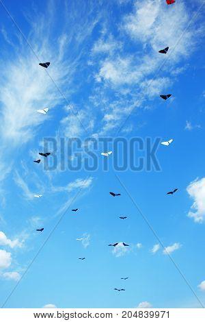 Group of kites flying high in the blue sky. Kite festival