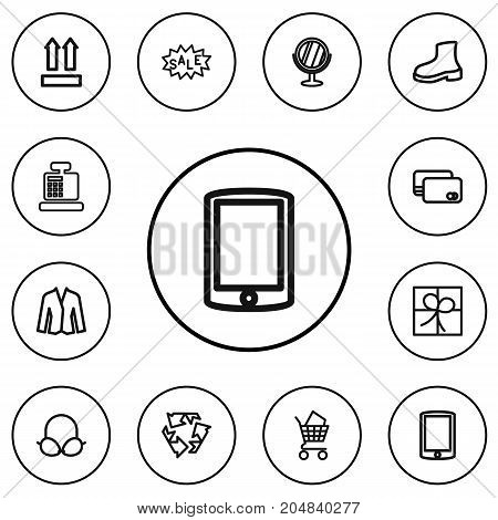 Set Of 12 Editable Trade Outline Icons. Includes Symbols Such As Recycle, Giftbox, Bargain And More
