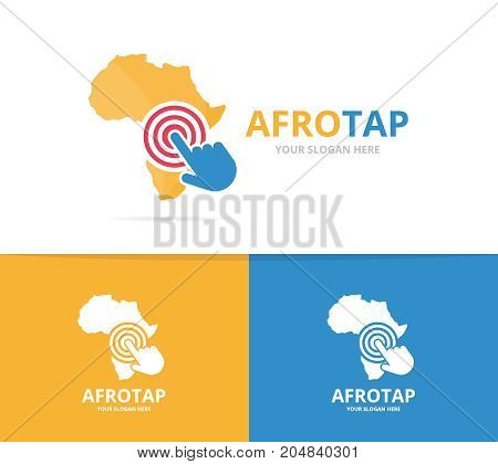 Vector africa and click logo combination. Safari and cursor symbol or icon. Unique geography, continent and digital logotype design template.