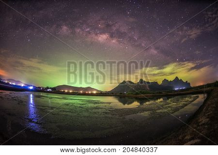 Landscape of milky way on night sky at Khao Sam Roi Yot National ParkPrachuap Khiri Khan Province in Thailand.