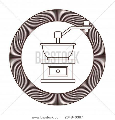 circular logo shield decorative of coffee grinding with crank striped brown silhouette on white background vector illustration