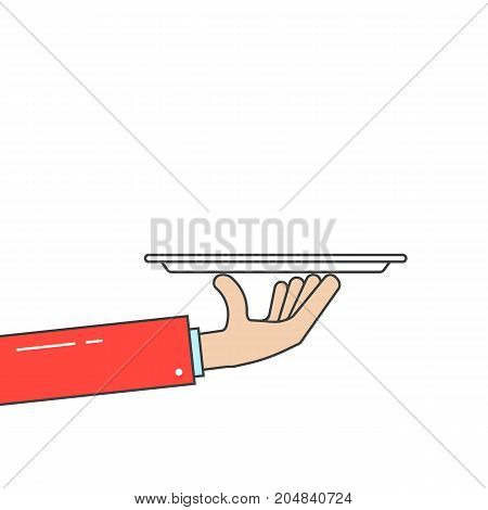 waiter holding plate in linear hand. concept of hotel dine, haute cuisine, salver, worker, event, breakfast, butler arm, platter. flat style trend modern design vector illustration on white background