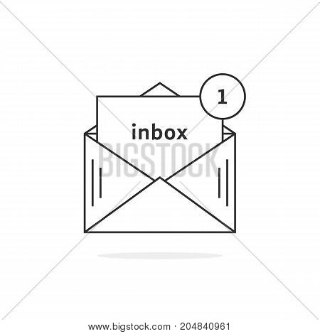 thin line new message icon. concept of mail notification, 1 sms, ui, office spam, reminder, data transfer, chat. flat linear style trend modern logotype design vector illustration on white background