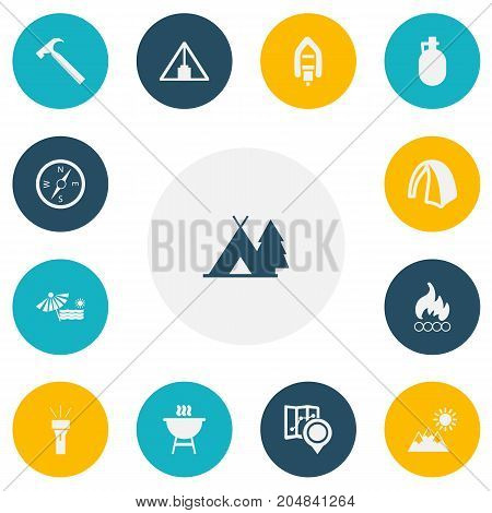 Set Of 13 Editable Camping Icons. Includes Symbols Such As Compass, Pitcher, Plage And More