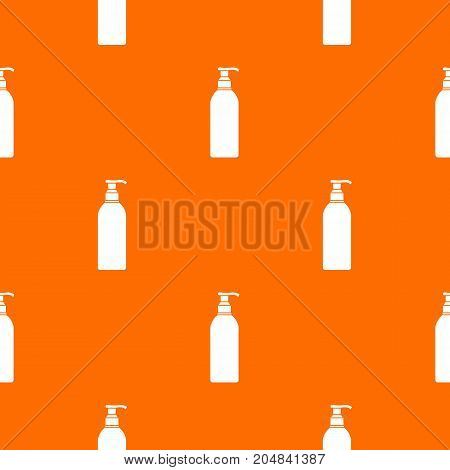 Cosmetic bottle pattern repeat seamless in orange color for any design. Vector geometric illustration